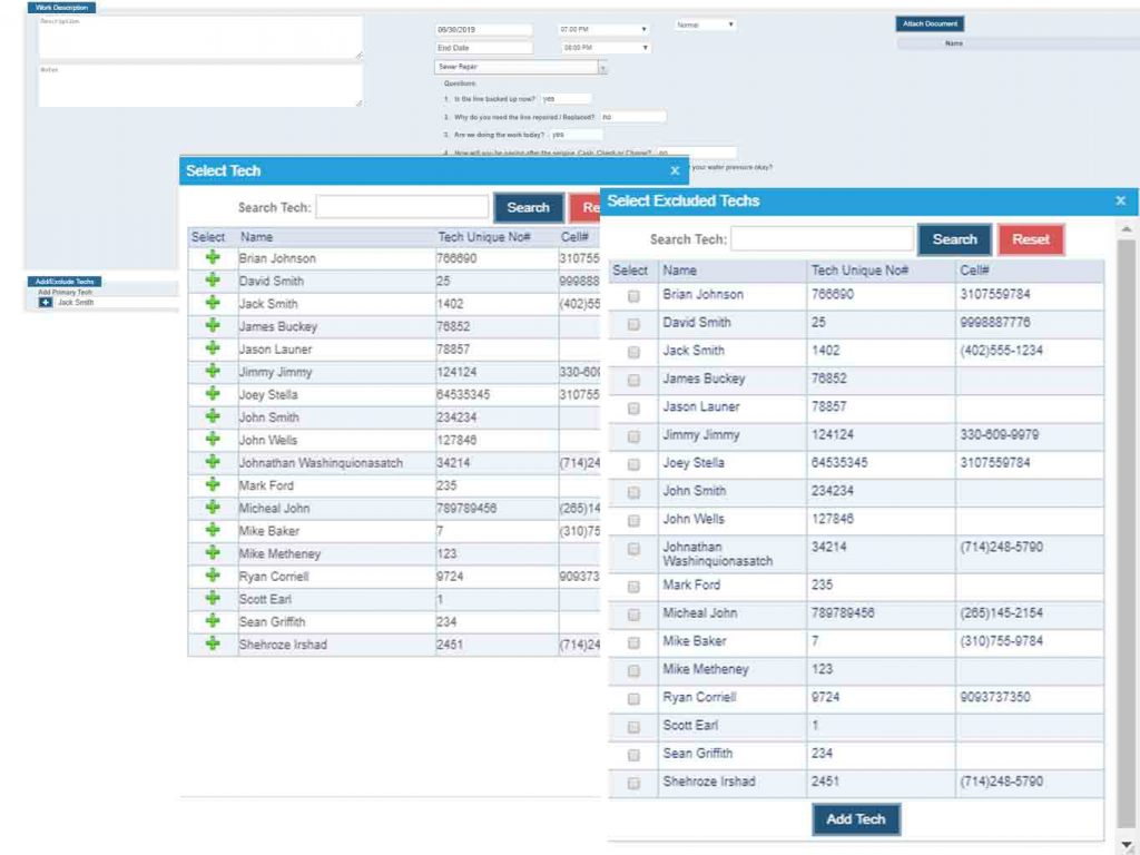 job assignment in work order web application